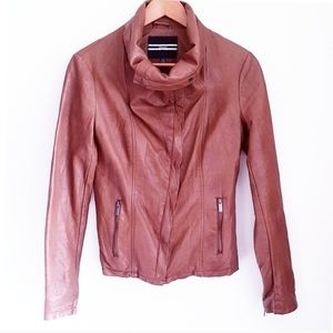 DYNAMITE Brown Faux Leather Tall Neck Jacket